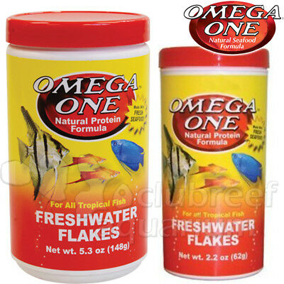 Freshwater Natural Protein Tropical Fish Flakes Food Omega One 2 2Oz 5 3 Oz