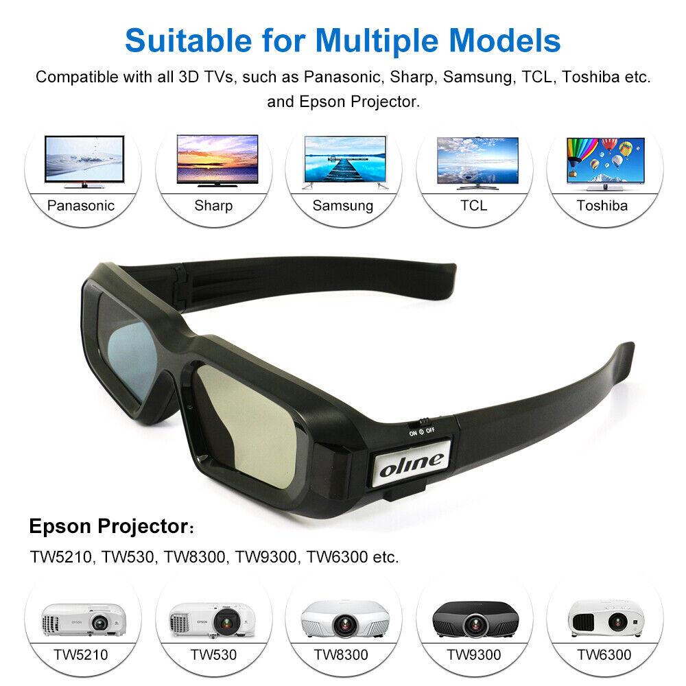 Active Shutter 3D Glasses Blue-tooth for Sony Panasonic LG 3