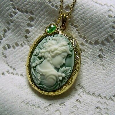 GREEK GODDESS CAMEO LOCKET NECKLACE - GODDESS OF WINE - GOLD PILL BOX NECKLACE