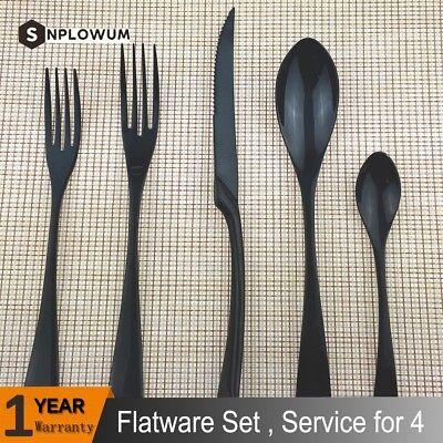 20-Pc Black Flatware Set Cutlery Silverware Steak Knife Dessert Fork Spoon 4 Set ()