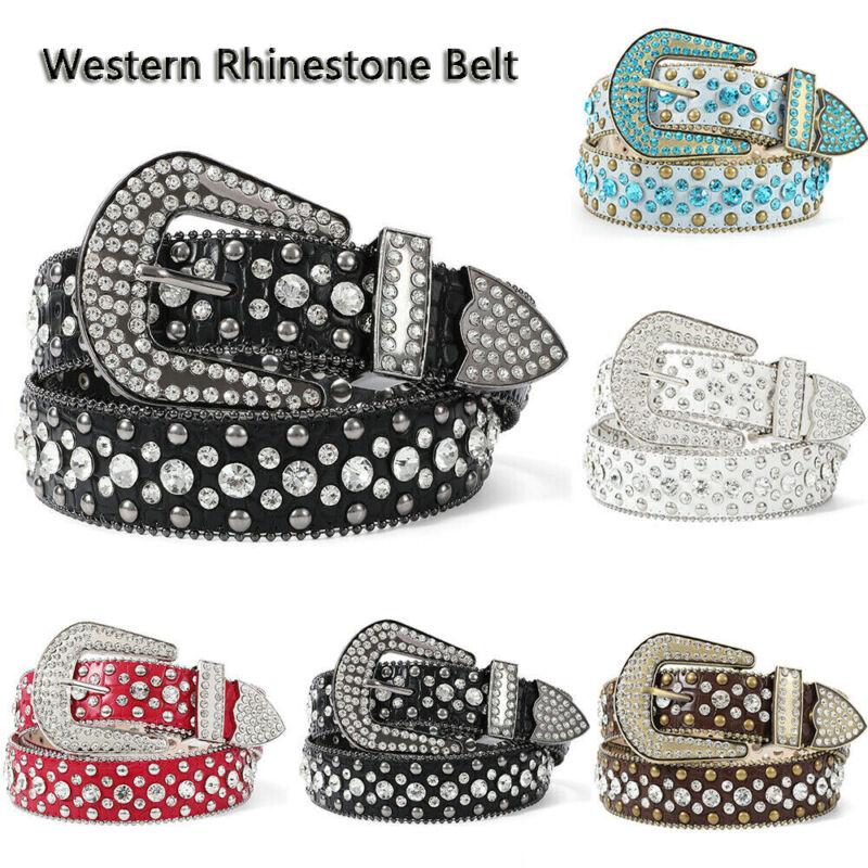 Rhinestone Western Crocodile Embossed Leather Belt Women Studded Shiny Belt New