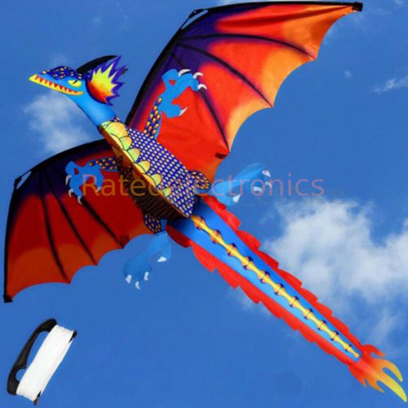 Large Single Line 3D Dragon Kite Long Tail Spring Outdoor Family Activity Toy US