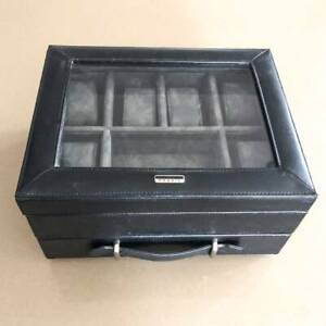 GENUINE Black leather FOSSIL watch box- 6 slots plus extra drawer