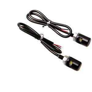 2x White LED Motorcycle & Car License Plate Stud Screw Black Bolt On Light Lamp