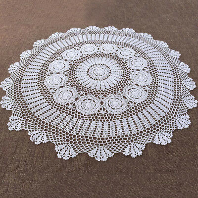 White Hand Crochet Table Cloth/Topper Round Tablecloth Vintage Lace Doily 35inch