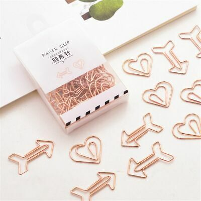 12pcs Arrow Heart Shape Paper Clips Hollow Out Binder Clips Tickets Clamp Hot - Shaped Paper Clips
