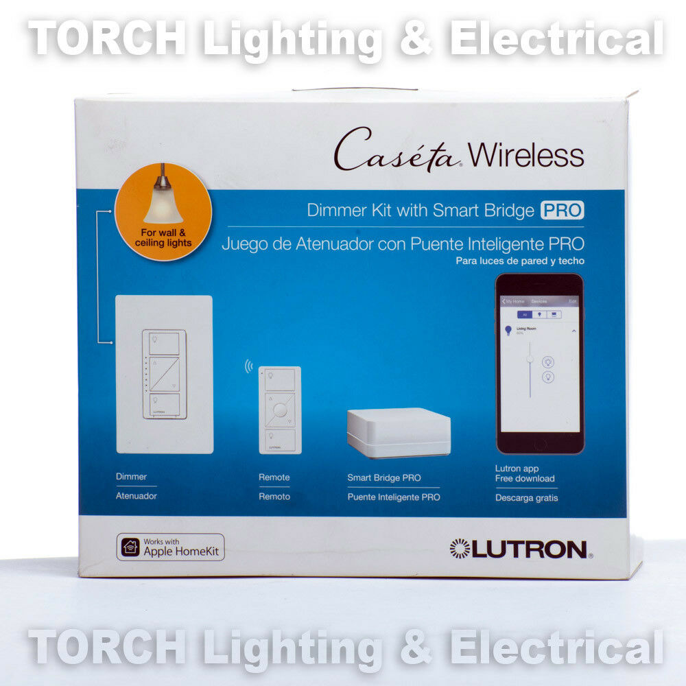 LUTRON PRO WIRELESS DIMMER KIT CASETA w/ SMART BRIDGE P-BDGPRO-PKG1W Lamp Light