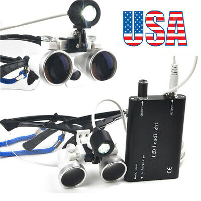 Dental Surgical Medical Binocular Loupes 2.5x420mm Head Light Lamp Magnifier