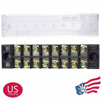 Us Stock 5pcs 8 Position 15a Dual Row Screw Terminal Block Strip Connector