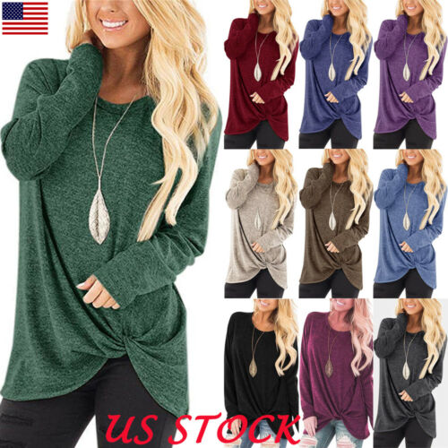 US Womens Loose Long Sleeve T Shirt Tops Blouse Oversized Te