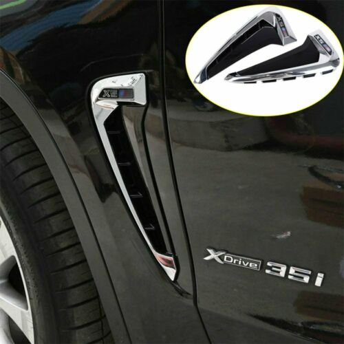 Side Marker Fender Air wing Vent Trim Black M Cover with White Letters For 2014 BMW F15-X5 X 5 35I P