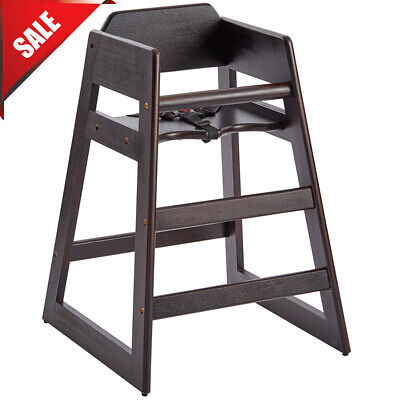 Restaurant Style Wooden High Chair Baby Toddler Wood Assembled Dark Wood Seat