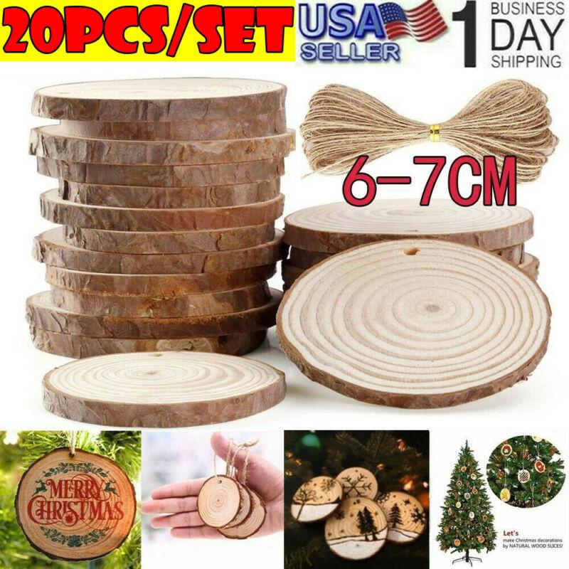 20pcs DIY Natural Wood Slices Round Log Discs Christmas Tree