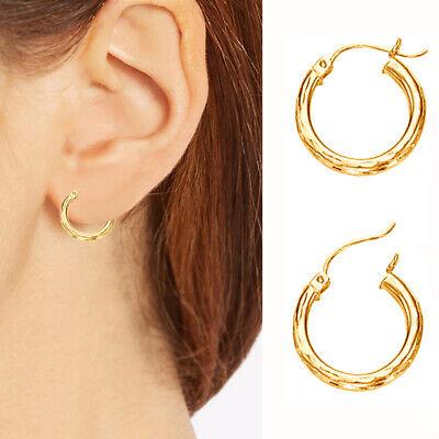 - 10K Real Yellow Gold Small DC Tubular Hoop Earrings 15mm x 2mm