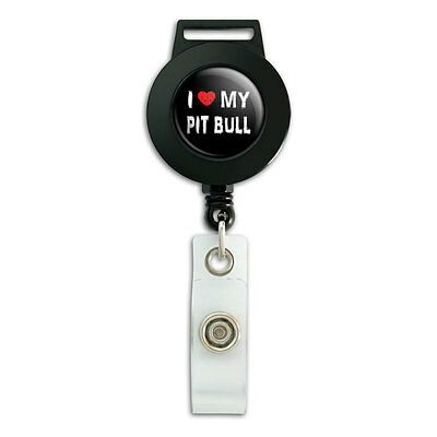 I Love My Pit Bull Stylish - Lanyard Retractable Reel Badge ID Card Holder ()