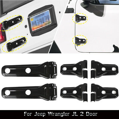 Carbon Fiber Door Spare Tire Hinge Covers Accessories For Jeep Wrangler JL 2Dr