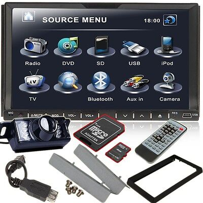 "Card+2Din 7"" Car DVD Player In-Dash Stereo Radio iPod TV Bluetooth USB SD+Camera on Rummage"