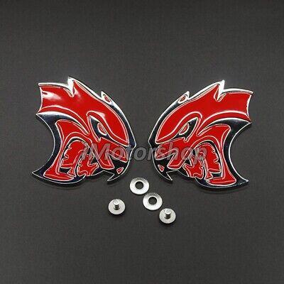 Premium Red Chromed Alloy Emblem Badge of Car Floor Mat fits Dodge SRT Hellcat