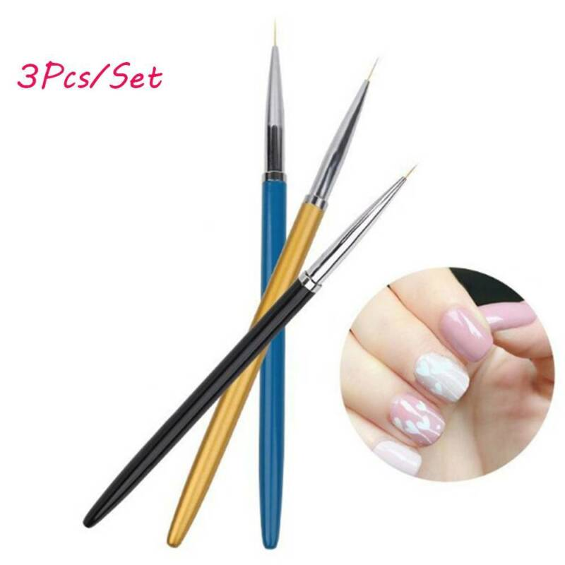 Details About 3pcsset Nail Art Liner Painting Pen 3d Tips Diy Acrylic Uv Gel Brushes Drawing