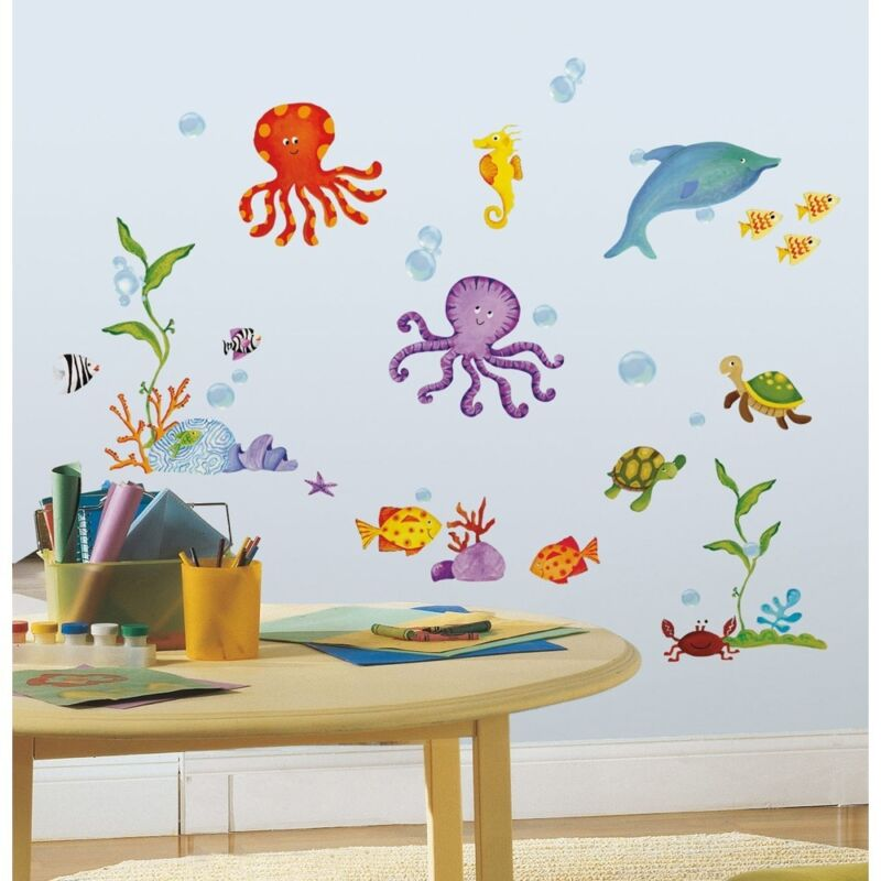 59 New TROPICAL FISH WALL DECALS Octopus Stickers Kids Ocean Bathroom Room Decor фото