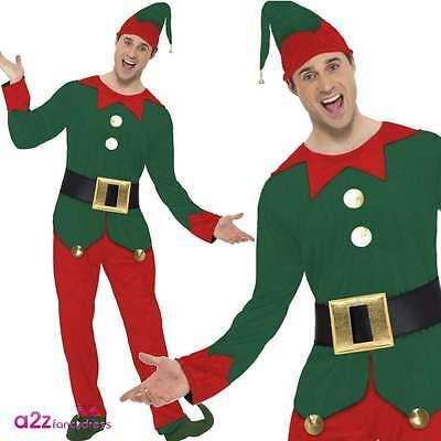Mens Elf Costume Festive Christmas Santas Helper Xmas Adult Fancy Dress Outfit - Mens Elf Outfit