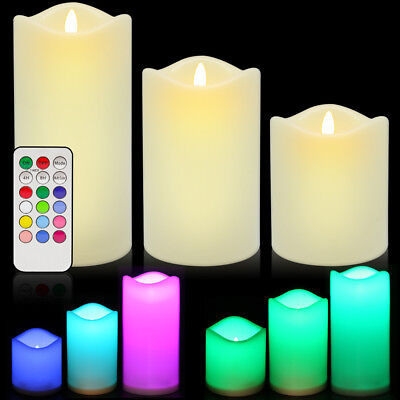 LED Flameless Candles, ANKO Multi Color Candles with Timer and Remote (Set of 3) (Flameless Colored Candles)