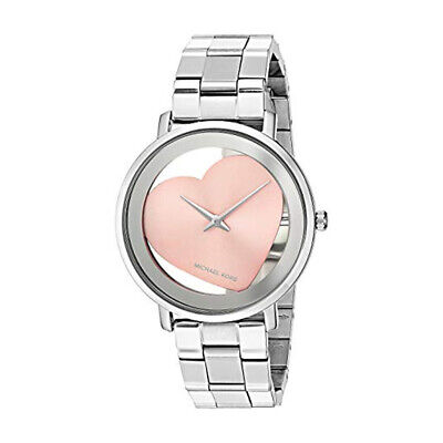 100% New Michael Kors MK3620 Jaryn Silver Rose Gold Heart Dial Women's Watch