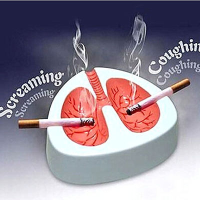 White   Red Coughing Screaming Lung Ashtray Quit Smoking Cigarette Ashtray