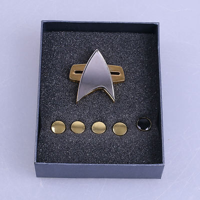 (Star Trek Voyager Communicator Badge & Rank Pin A Set Of 6 Star Trek Badge New)