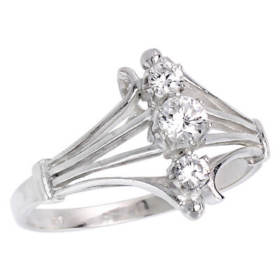 Sterling Silver 3 Brilliant Cut Cubic Zirconia Stones Ring