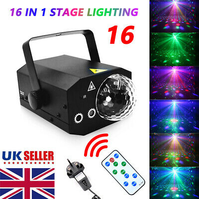 16 in 1 Sound Active Stage Light LED Laser Beam RGB Xmas Disco Party Lighting UK