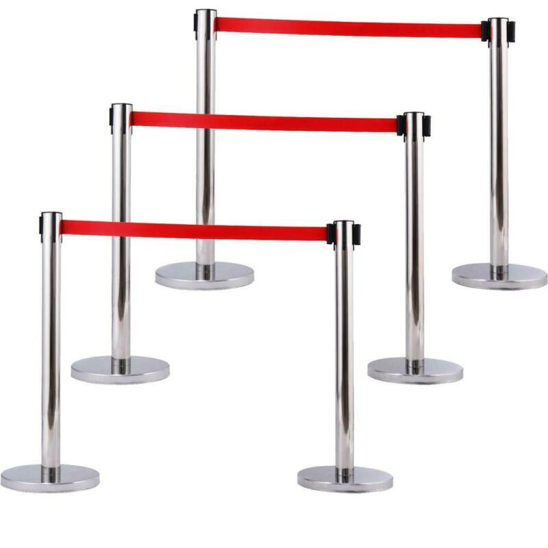 6x Silver Stanchion Posts Queue Pole Retractable Red Belt Crowd Control Barrier