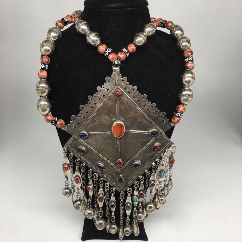 Old Vintage Afghan Huge Turkmen Marquise Pendant Necklace Gold-Gilded,TN257
