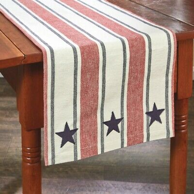 Red Navy Cream Striped Table Runner Stars Stripes Americana Kitchen Dining 13X36