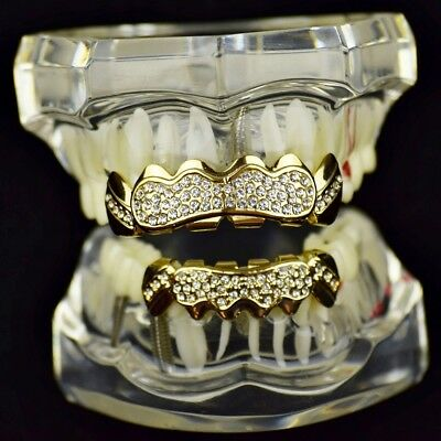 Iced Bling Hip Hop Grillz (14k Gold Plated Grillz Set Iced Bling Stone Cluster Top Bottom Hip Hop Teeth)
