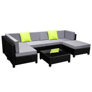 Outdoor Lounge 6 Seater Garden Furniture Wicker 7pcs Rattan Sofa Setting BKGY