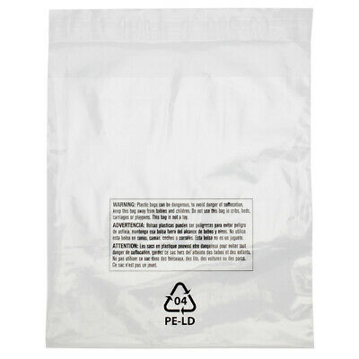 100 Resealable 12 X 18 Clear Poly Plastic Bags Suffocation Warning Shirt Apparel