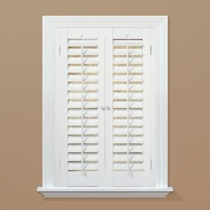 Plantation Faux Wood White Interior Shutter Price Varies by Size Resists Warping