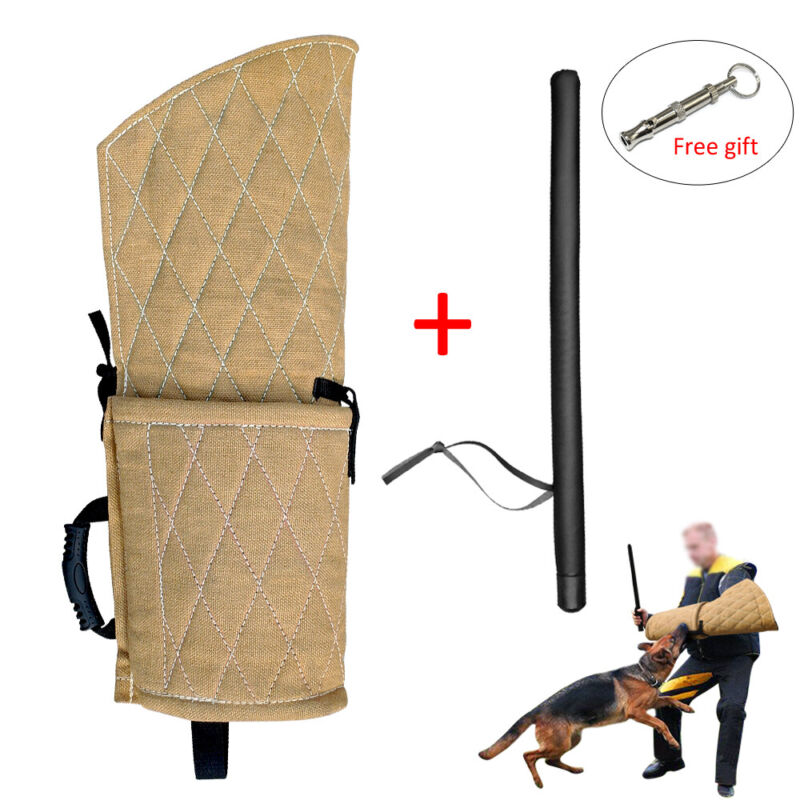 Pet Dog Bite Sleeve Arm Protection Young Dogs Training Split Stick Gift Whistle