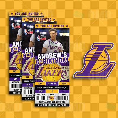 Los Angeles Lakers Ticket Style Sports Party Invites
