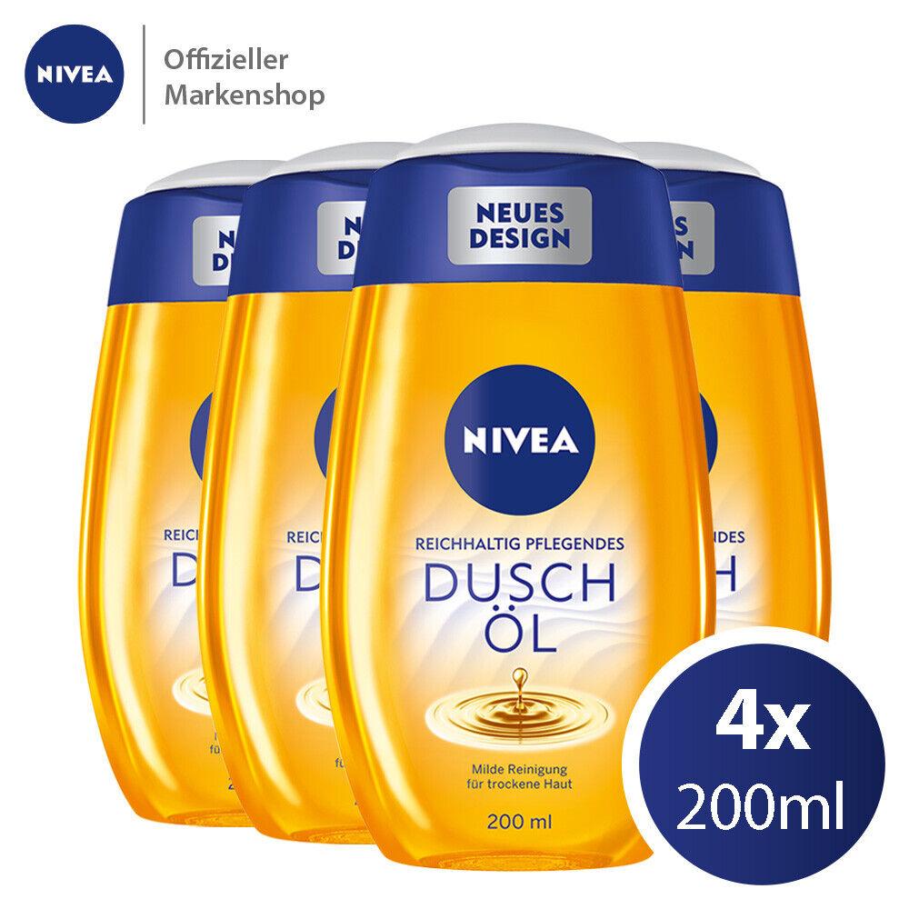 4x200ml NIVEA Pflegendes Duschöl - Reichhaltige Duschpflege Öl Trockene Haut