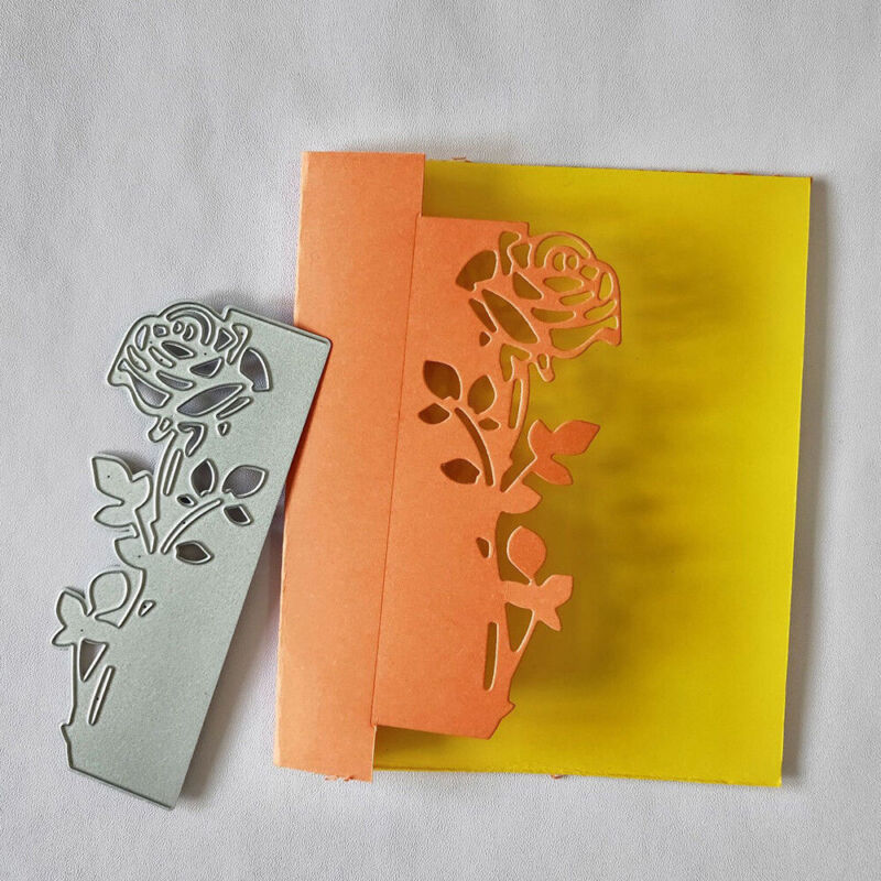 Paper Craft Metal Scrapbook Cutting Dies Rose Leaves Border DIY 3D Stamp