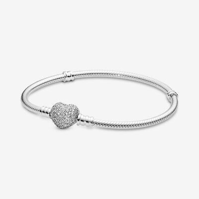 Pandora Charms Sparkling Heart Clasp Snake Charm Beads Chain Bracelet 6.7""