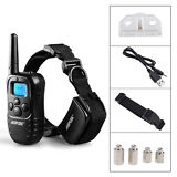 300 Yard Rechargeable LCD 100LV Level Shock Vibra Remote Pet Dog Training Collar