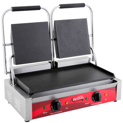 Avantco P85s Double Commercial Panini Sandwich Grill Smooth Plates