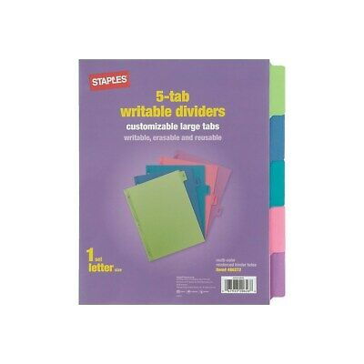 Staples Large Tabs Write Erase Paper Dividers 5-tab Multicolor 486272