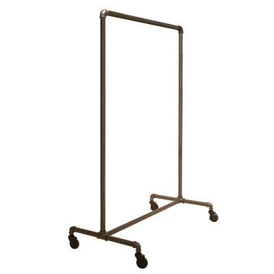 Econoco Rolling Garment Rack Clothes Storage Pipe Non Adjustable Gray 51 X 64 In
