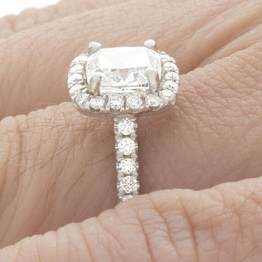 GIA Certified Cushion Cut Diamond Engagement Ring 14k White Gold  0.95 CTW 3