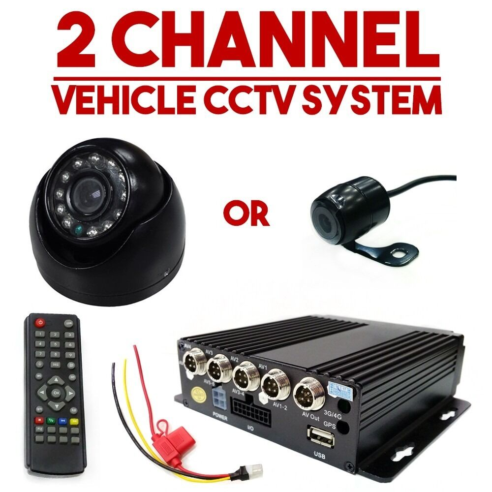 2x Cameras Vehicle Cctv Dvr In Car Taxi Van Camera Minibus
