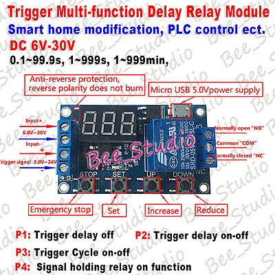 Dc 9v 12v 24v Led Display Trigger Time Delay Cycle Timer Relay Switch Module Usb